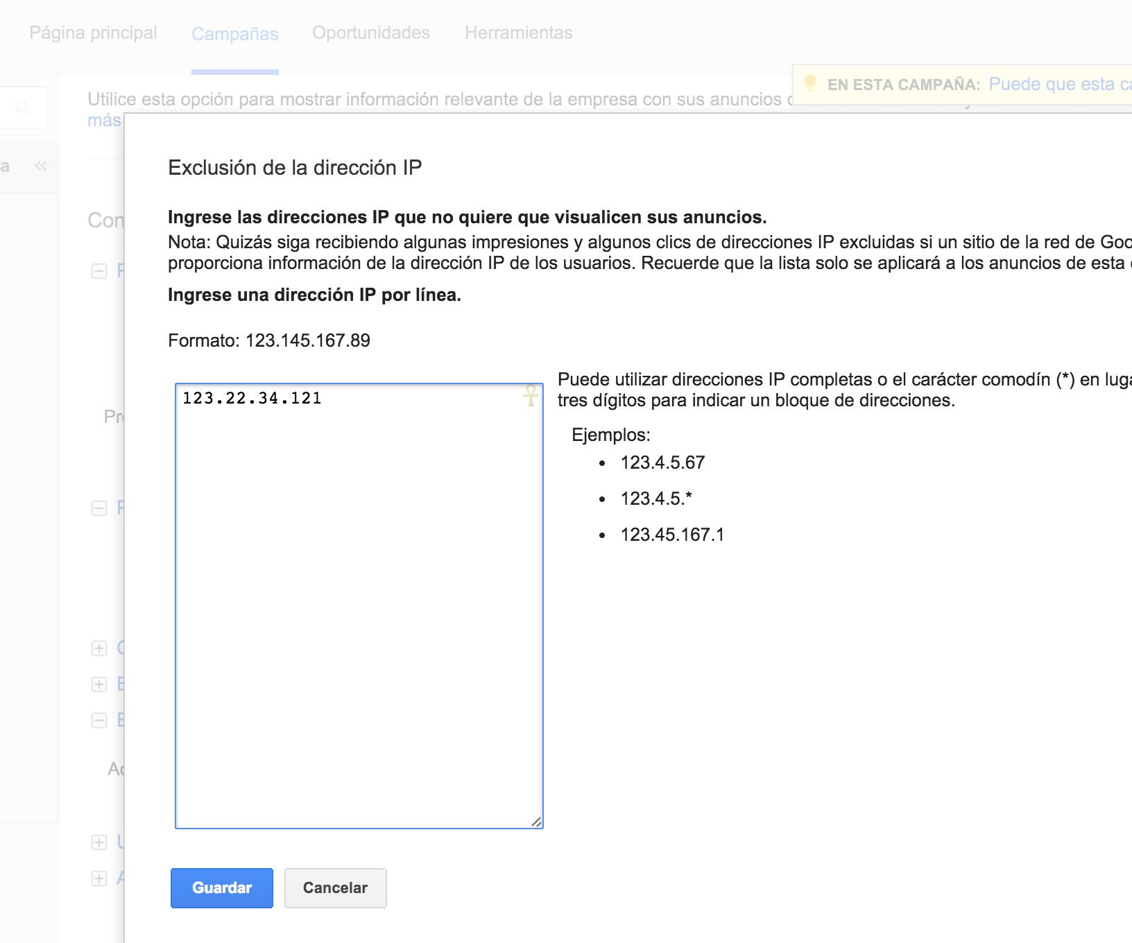 Adwords exclusión de IP