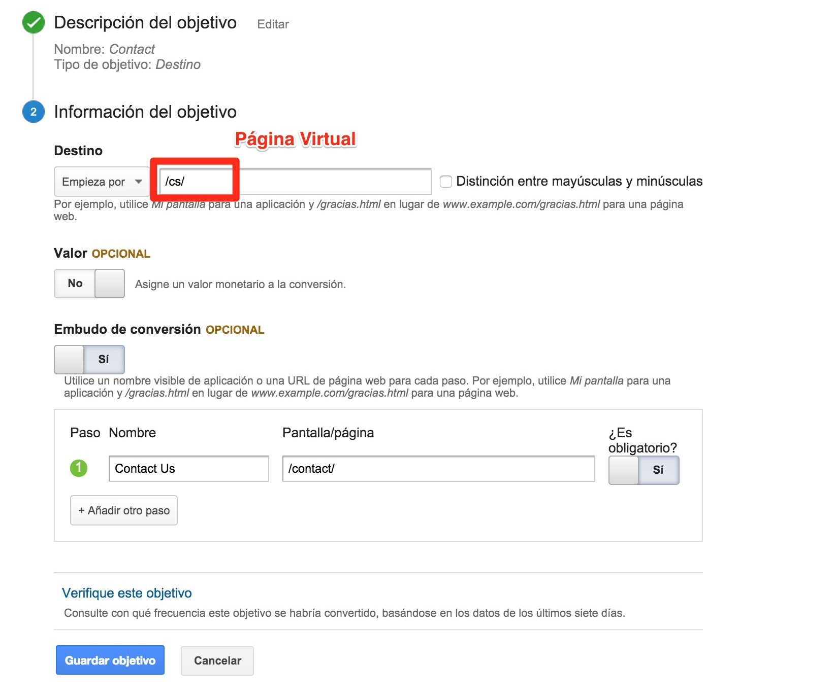 Rastreo de objetivos en Google Analytics
