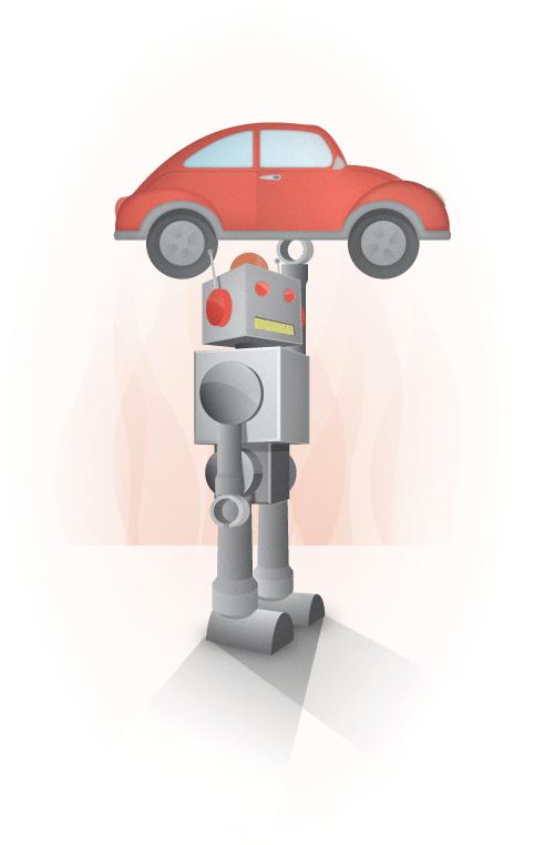 Robot y auto