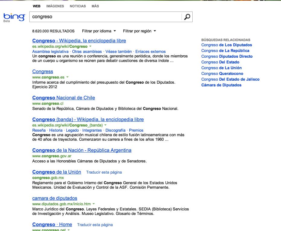 Búsqueda en Bing congreso