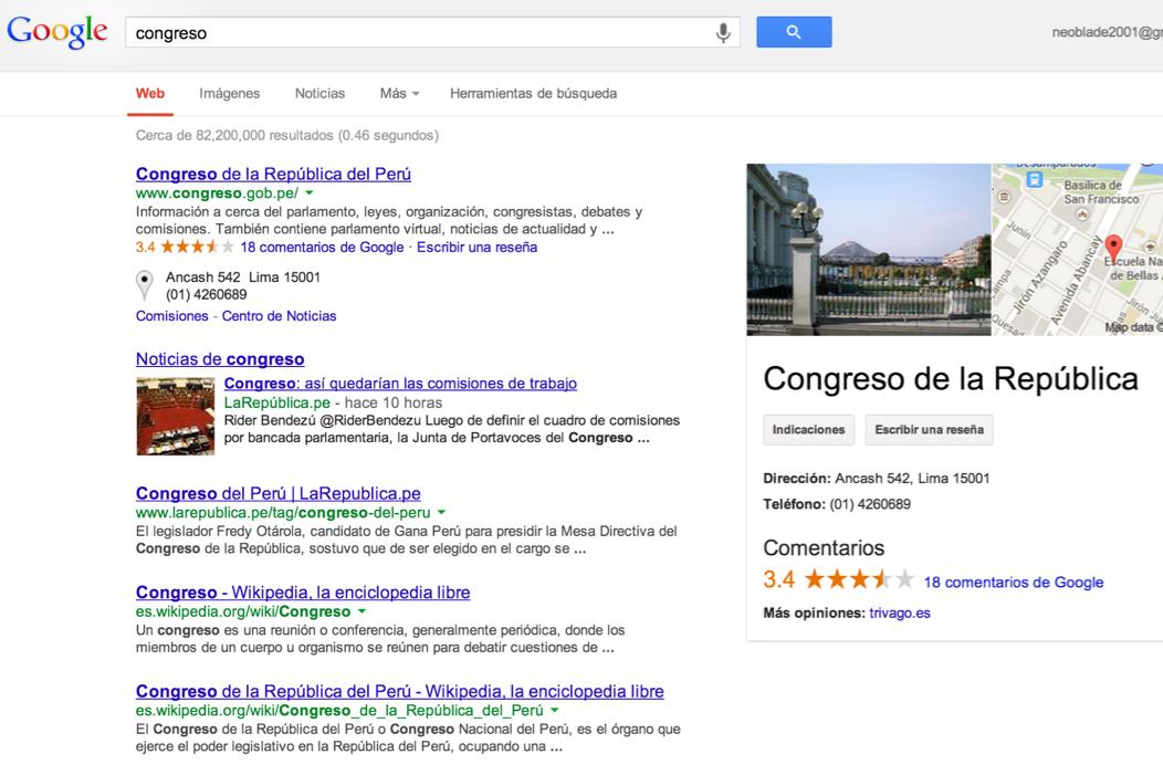 Búsqueda en Google congreso de la república