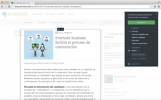 Evernote Web Clipper Extensión SEO en Google Chrome