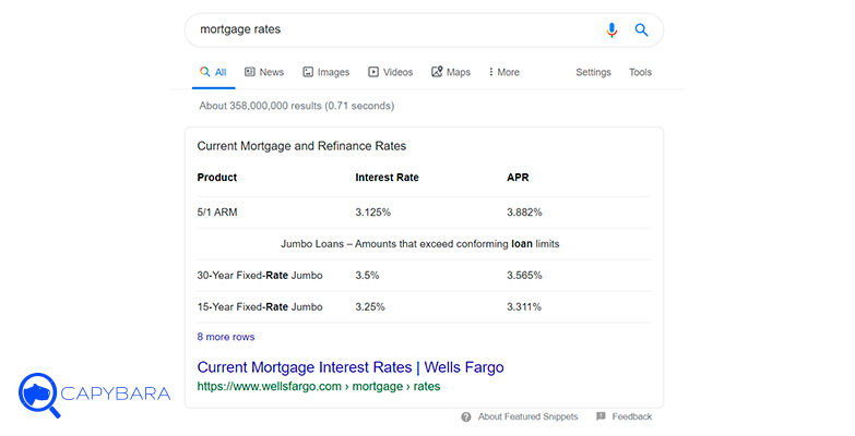 featured snippets tabla