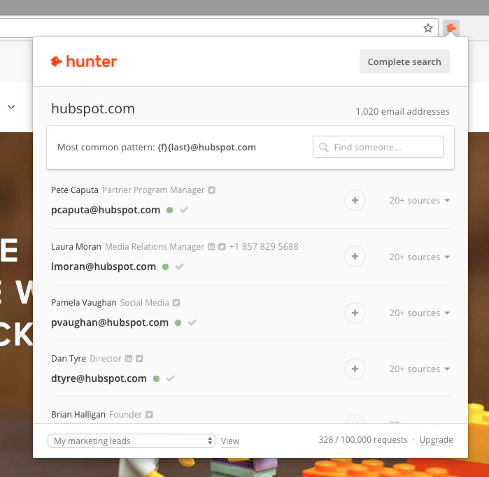 Hunter Extensión SEO en Google