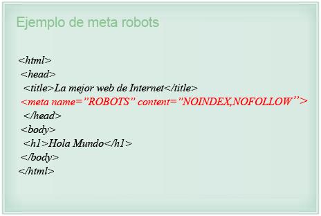 Ejemplo de meta robots