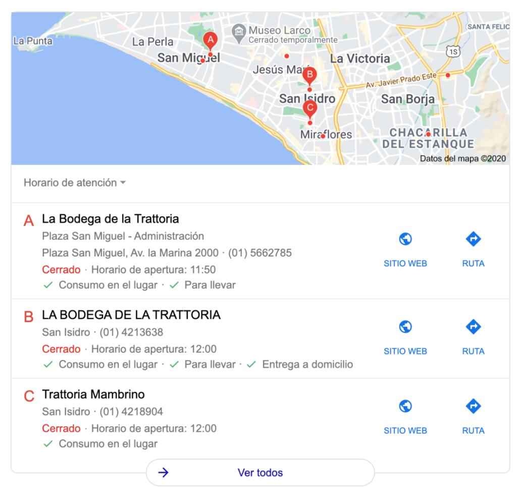 resultados locales google