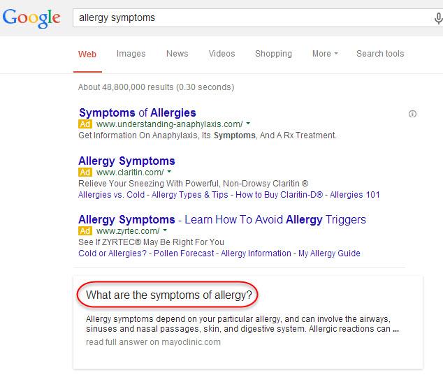 """busqueda en google """"sintomas de alergia!"""